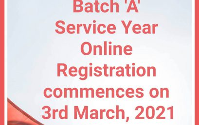 NYSC 2021 BATCH 'A' SERVICE YEAR ONLINE REGISTRATION