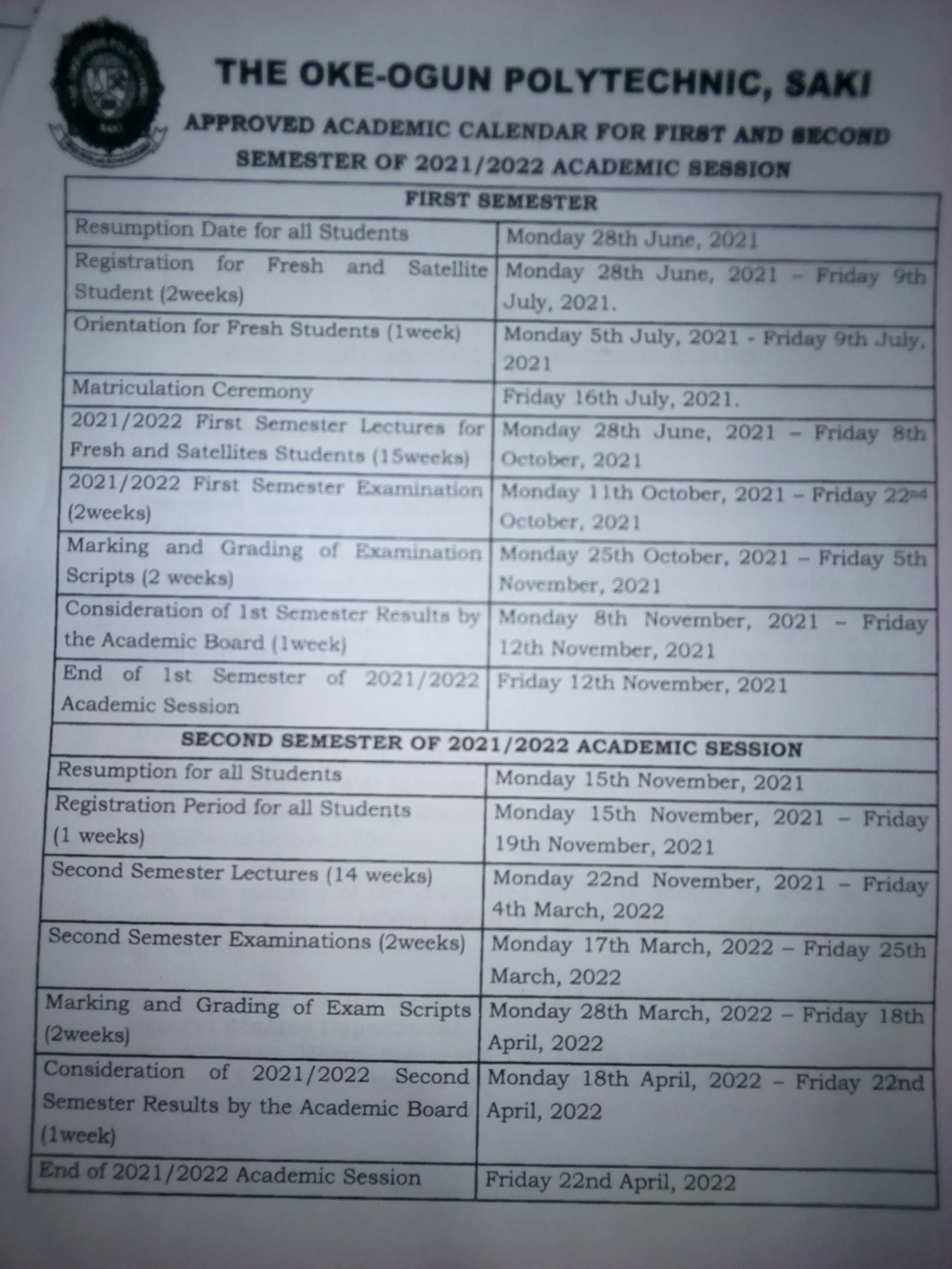 APPROVED ACADEMIC CALENDER FOR FIRST AND SECOND SEMESTER OF  2021/2022 ACADEMIC SESSION